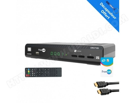 WISI OR07HD Récepteur satellite HD + Carte Fransat PC6 + CABLE HDMI WISI OR07-HDMI