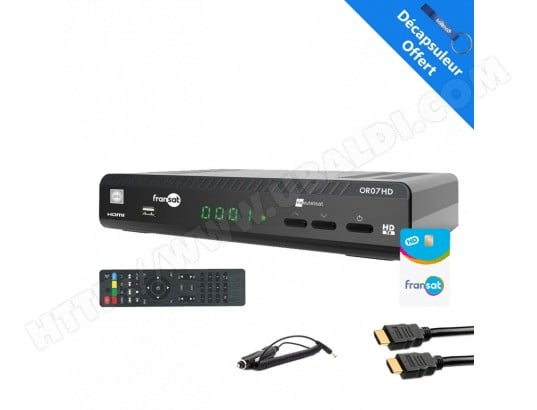 WISI OR07HD Récepteur satellite HD + Carte Fransat PC6 + HDMi 2M  + Cable 12V Allume cigare WISI OR07HDC12