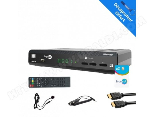 WISI OR07HD Récepteur satellite HD + Carte Fransat PC6 + HDMi 2M + Cable 12V + Déport IR WISI OR07HDFULLPACK