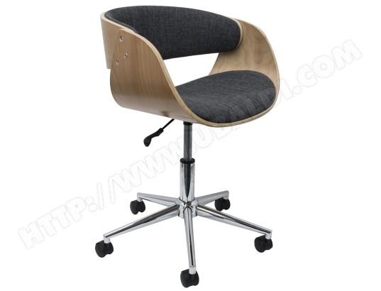 Chaise de bureau en bois et tisuu coloris gris beige dim : h 56 x