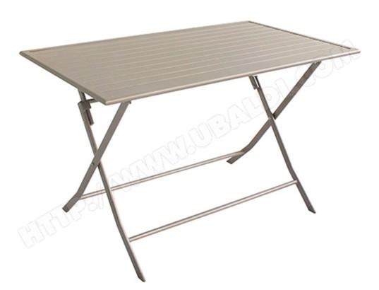Table de jardin pliante en aluminium coloris taupe mat - Dim : 120 x ...