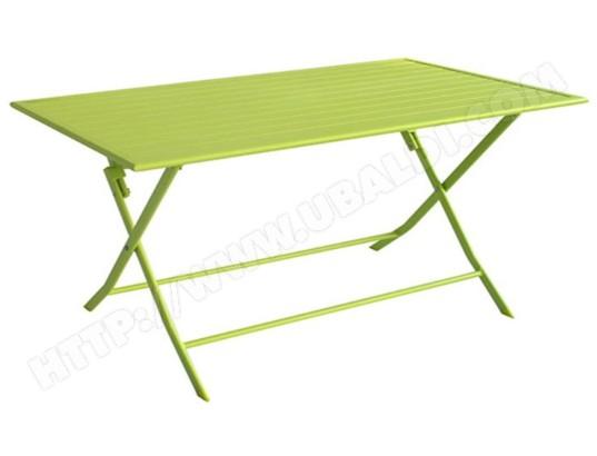 Table de jardin pliante en aluminium coloris vert anis mat ...