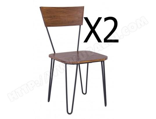 Lot De 2 Chaises En Fer Et Bois D Acacia Dim L 45 X P 41