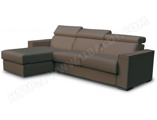 Canapé lit CITY Andorra angle convertible 140 mf marron