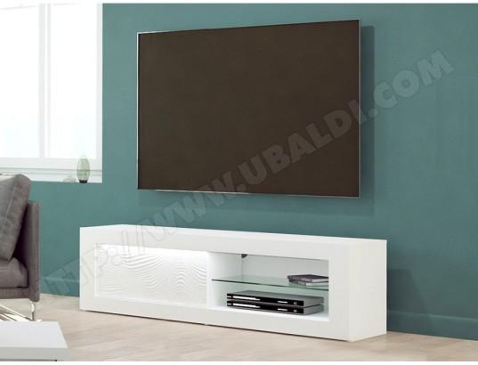 Meuble TV ECLIPSE - LEDs - MDF Blanc laqué - 1 porte & 2 ...