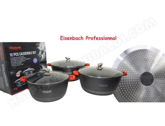 Eisenbach Kleinach Lot de 14 casseroles /à po/êles avec rev/êtement en c/éramique marbre Anti-adh/ésif Compatible Induction Noir