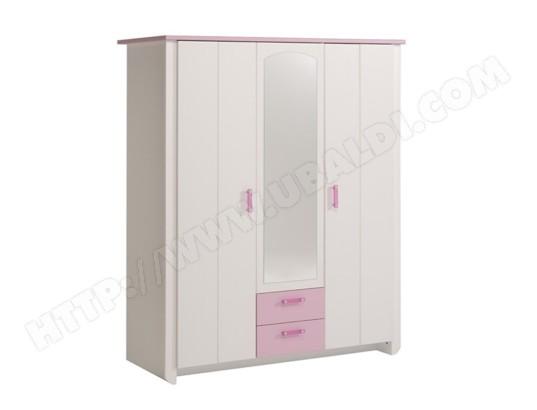 Armoire 3 portes Blanche et Rose pour Chambre Fille, L 136 x ...