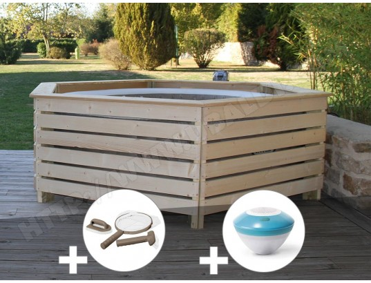Pack Spa Gonflable Intex Purespa Rond Bulles 4 Places Habillage En