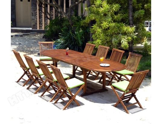 salon de jardin 10 chaises et table 200-300 cm en teck huilé ...