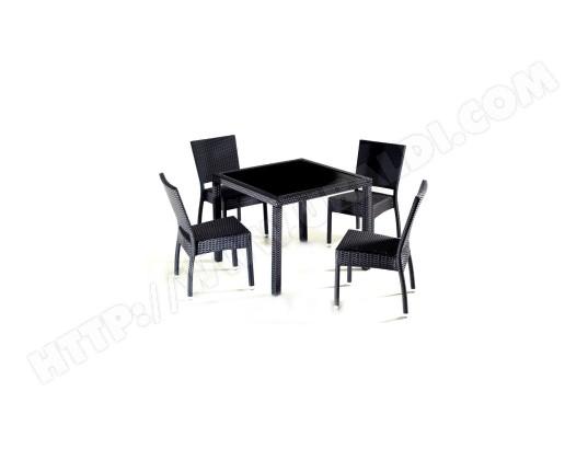 Salon de jardin en résine table carré 4 personnes WOOD-EN-STOCK 75 ...