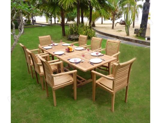 salon de jardin en teck brut table 180-240 cm 8 fauteuils ...
