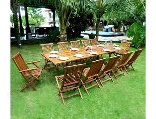 Salon de jardin en teck grande taille - table 300 cm WOOD-EN ...