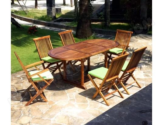 salon en teck pour jardin 6 chaises et fauteuils WOOD-EN-STOCK 561 ...