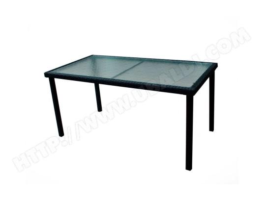 table de jardin en résine tressée et plateau verre 140 cm WOOD-EN ...