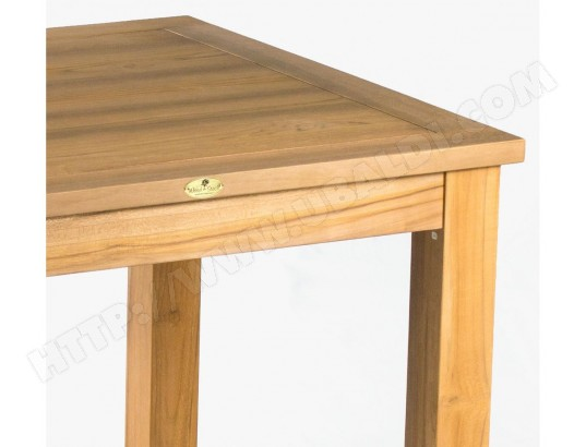 table de salon bois exotique teck massif 90 cm x 90 cm WOOD ...