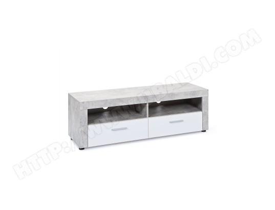 Meuble Tv 2 Tiroirs Concrete 134cm Gris Blanc Camif Ma