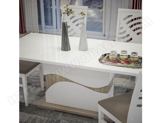 Table à manger moderne blanc laqué et couleur bois LYDIA NOUVOMEUBLE ...