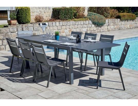 Imagin - Salon de jardin alu moderne 8 chaises Guethary ...