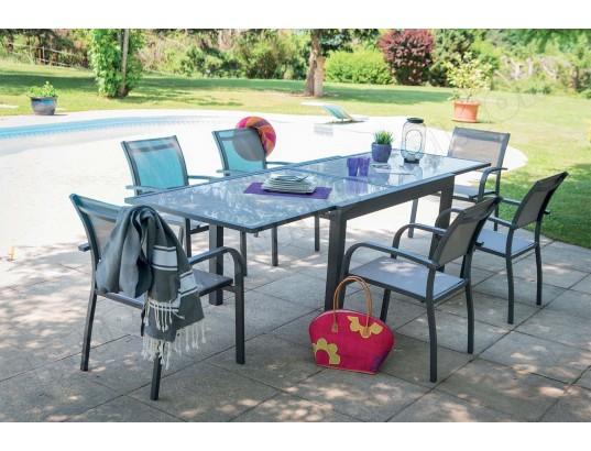 Imagin - Salon de jardin aluminium et verre 6 fauteuils ...
