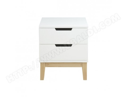 Table De Chevet Design Bois Et Blanc 2 Tiroirs Snoop Miliboo 46192