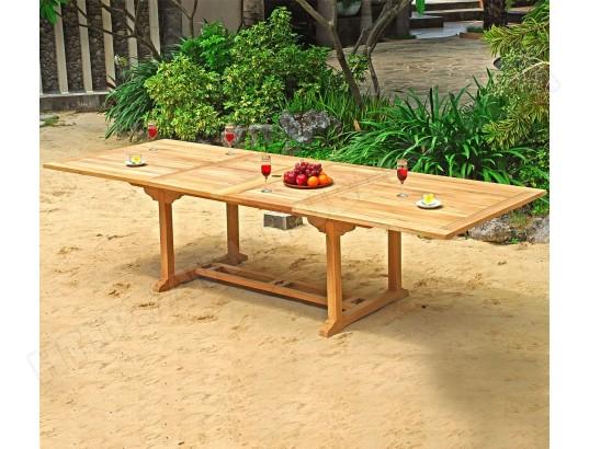 Table de jardin XXL en teck brut - double rallonge papillon 200-300 ...