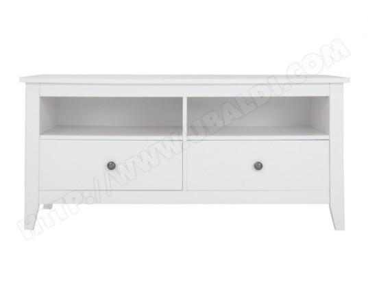 Meuble TV EVELYN - 2 tiroirs & 2 niches - MDF - Blanc VENTE ...