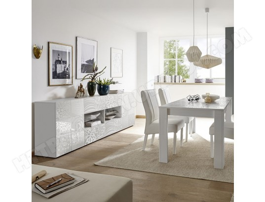 Salle a manger design blanc laqué buffet 241 cm NERINA ...