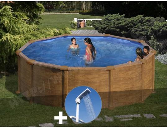 kit piscine acier aspect bois gr mauritius ronde 3 70 x 1. Black Bedroom Furniture Sets. Home Design Ideas