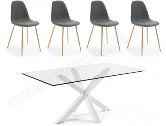 Ensemble table et chaises JULIA GRUP Table Arya blanche 200 + 4 chaises Lissy gris
