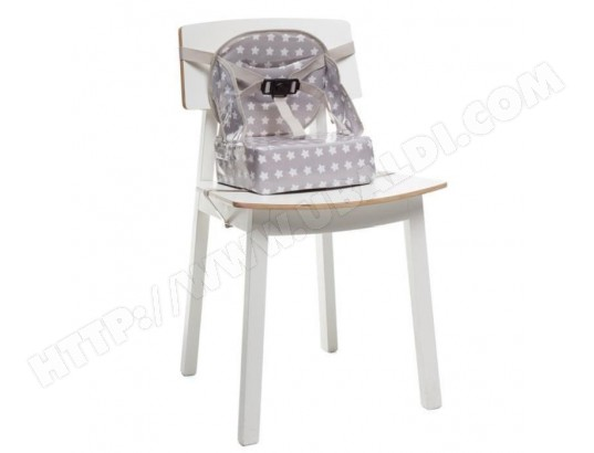 Rehausseur easy up babytolove 39 white stars 39 gris baby to - Chaise nomade baby to love ...