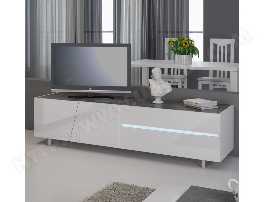 sofamobili meuble tv blanc laque avec eclairage a led integre design joshua m tv 047