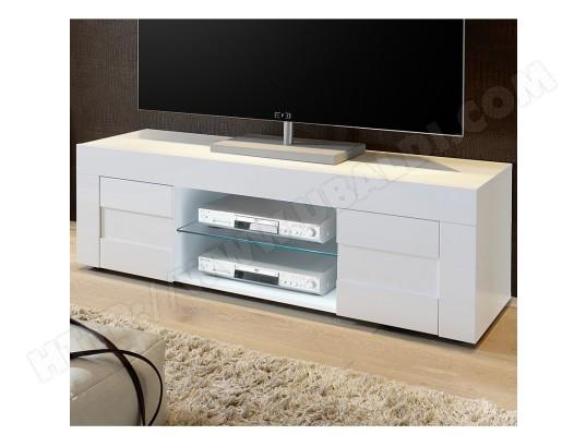 sofamobili meuble tv blanc laque brillant design okland m tv d 356 7