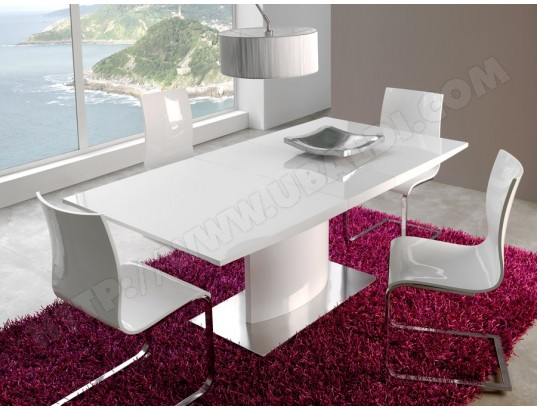 sofamobili table de salle a manger extensible blanc laque design neige tab r d 356