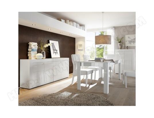 Salle à Manger Complète laqué Blanc brillant - TRANI - L 137 ...