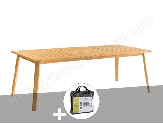 Table bois Estiva 8 places avec housse de protection ...