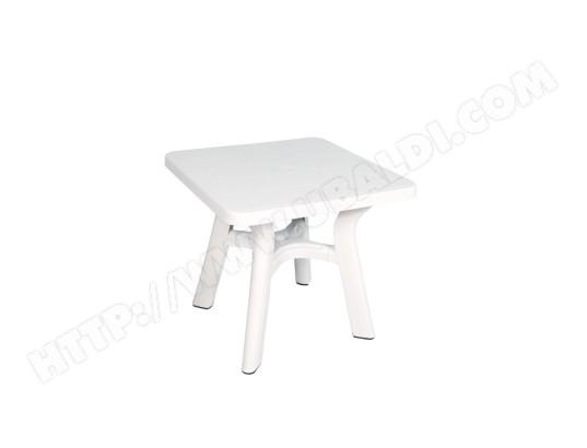Table carrée de jardin blanche 80x80 cm en plastique BO TIME ...