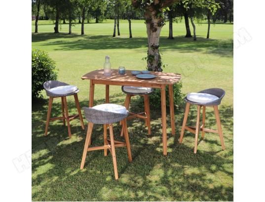 Salon de jardin haut en bois d\'acacia 4 places BOIS DESSUS ...