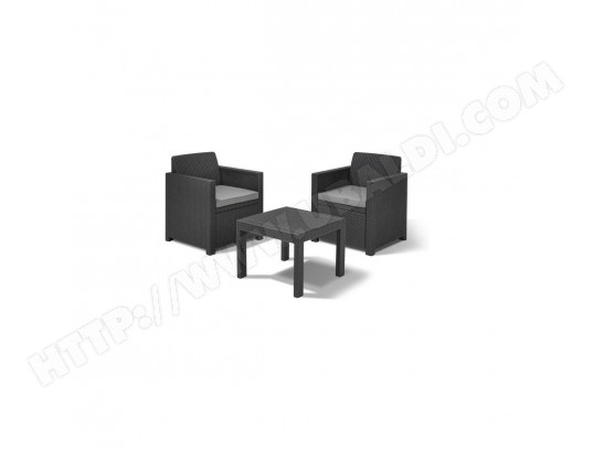ALLIBERT Salon de jardin ALLEGRO 2 places - Imitation resine ...