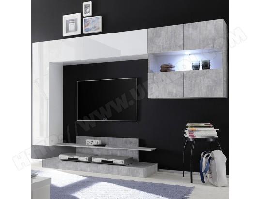 Meuble Tv Suspendu Led Design Blanc Laque Et Gris Picerno