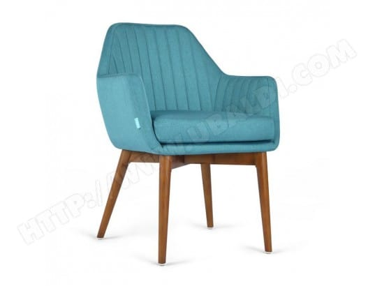 fauteuil rainur tissu bleu canard merle l 61 x l 61 x h 82 tousmesmeubles - Fauteuil Bleu Canard Pas Cher