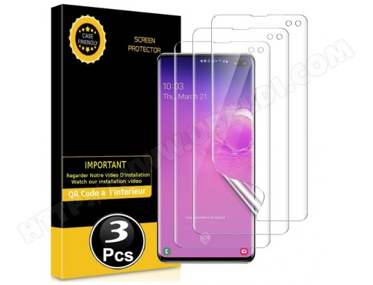 Protection écran pour Samsung Galaxy S10 - [3 Pièces] [Couverture Totale] [Sans Bulles] [Protege les Bords] [Transparent] MP-FRANCE MA-70CA500PROT-6TVJ3