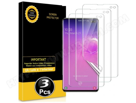 Protection écran pour Samsung Galaxy S10+ - [3 Pièces] [Couverture Totale] [Sans Bulles] [Protege les Bords] [Transparent] MP-FRANCE MA-70CA500PROT-7OYVR
