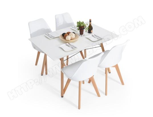 Ensemble Table A Manger Scandinave Blanche Bois Avec 4 Chaises