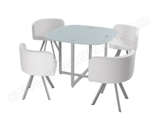 Ensemble Table de repas Design MALAGA blanc GIOVANNI
