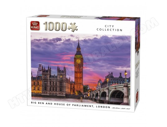Puzzle 1000 pièces City Collection : Big Ben et Le palais de Westminster, Londres KING PUZZLES MA-46CA394PUZZ-0MIWX
