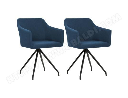 ICAVERNE Icaverne Chaises de cuisine et de salle à manger Joli Chaise pivotante de salle à manger 2 pcs Bleu Tissu ICAV247063