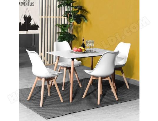 Table à manger blanche 4 places rectangulaire bois URBAN ...