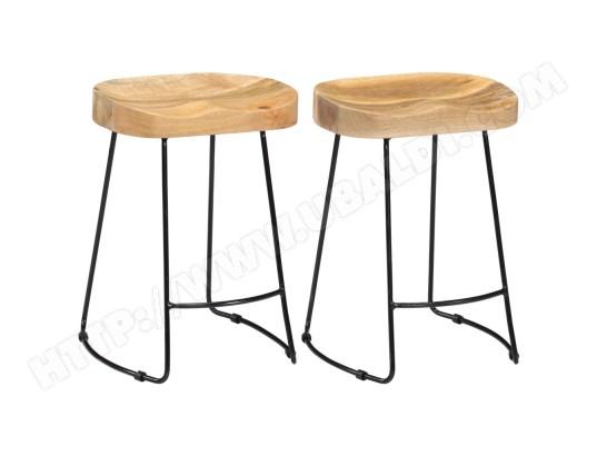 ICAVERNE Icaverne Tabourets et chaises de bar Admirable Tabourets de bar Gavin 2 pcs 46x38x52cm Bois de manguier solide ICAV247836