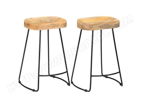 ICAVERNE Icaverne Tabourets et chaises de bar Superbe Tabourets de bar Gavin 2 pcs 45x40x62cm Bois de manguier massif ICAV247837