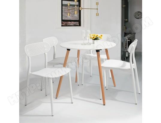 Ensemble table à manger ronde blanc et 4 plastique chaises ...